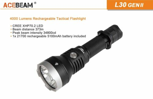 21700 New AceBeam L30 Gen II Cree XHP70.2 4000Lumens 6000K LED Flashlight
