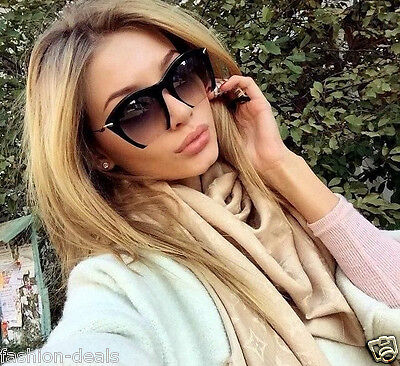 """RAZOR"" Semi Rimless Black Gradient Cut Off Lenses Oversized Women Sunglasses"