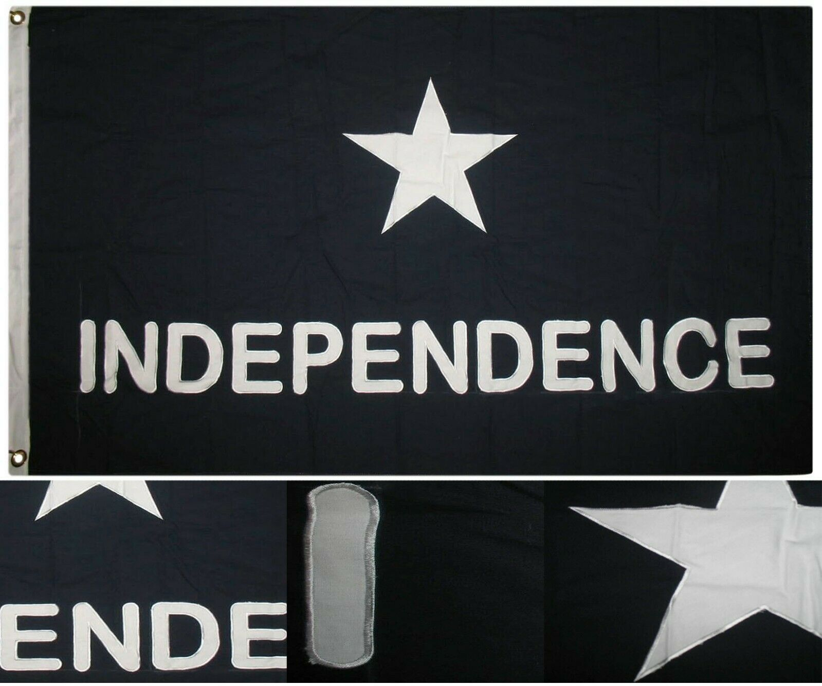 3x5 Embroiderojo Captain Scotts Texas Independence 100% Cotton Flag 2 Clips