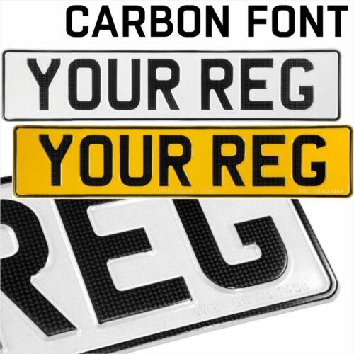 Font di carbonio x2 oblunghi pressato in Rilievo AUTO REG targhe UK 100/% legale strada