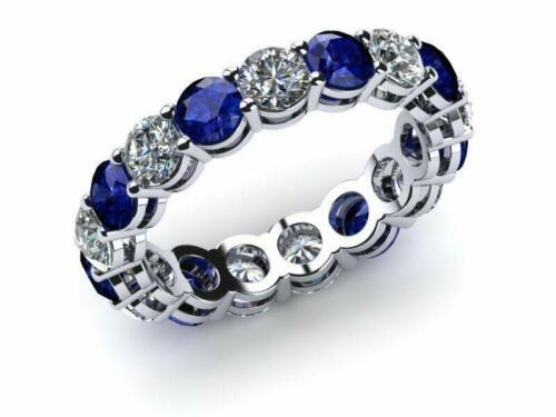 3ct Round Cut Blue Sapphire Eternity Wedding Band Ring 14k White Gold Finish