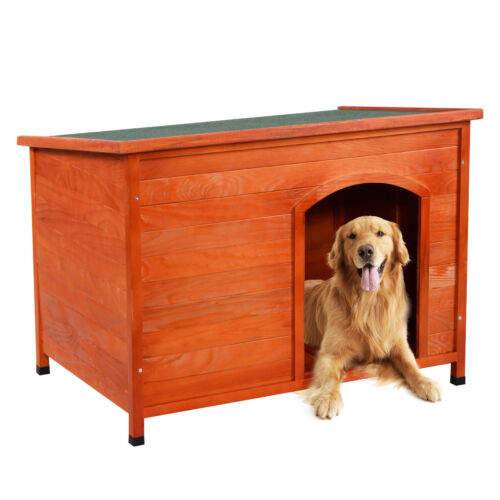 Wood-Dog-House-Pet-Shelter-Large-Kennel-Weather-Resistant-Home-Outdoor-Ground