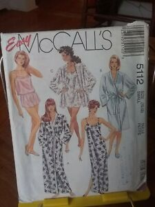 Oop-Mccalls-Easy-5112-misses-sleepwear-robe-nightshirt-shorts-cami-sz-10-12-NEW
