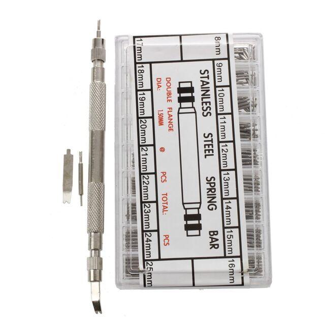 360 pcs 8-25mm Uhren Edelstahl Federstege + Stifte Uhr Armband Balken Fede A1L2