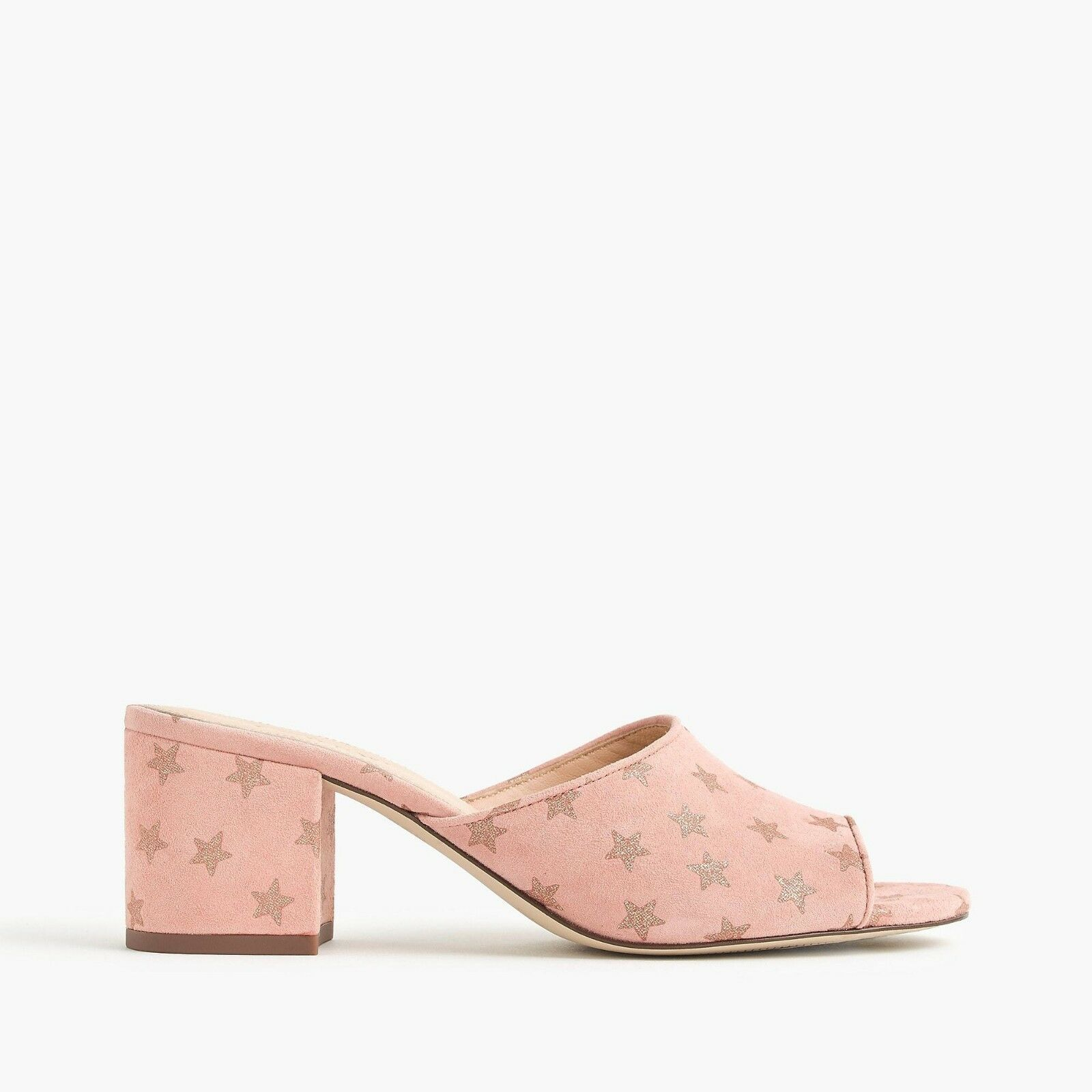138 NWT J.CREW All-day Mules Block Heel Starry Suede blueSH PINK COPPER Sz 8.5
