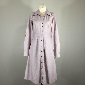 ModCloth-coordinador-de-Difusion-Camisa-De-Vestir-Marron-Blanco-a-Rayas-Clip-Dot-XS
