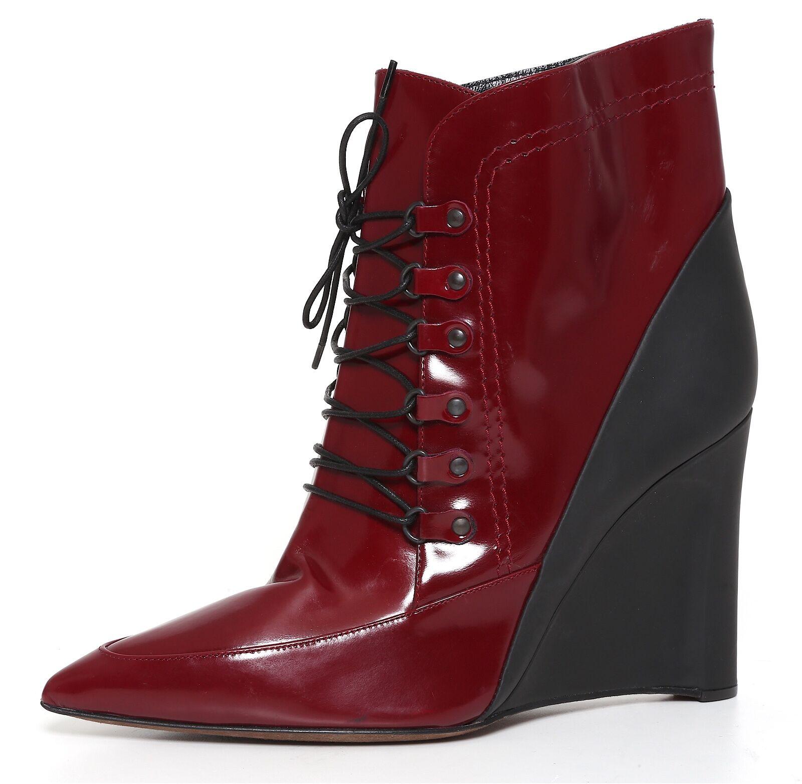 Derek Lam Wedge Heel Booties Patent Leather Burgundy Women Sz 7 B 1428