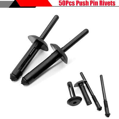50Pcs Black Car Door Plastic Rivet Fastener Trim Panel Retainer Clip for Honda