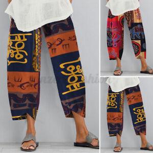 ZANZEA-Femme-Pantalon-Long-Impression-Poches-Taille-elastique-Casual-Loose-Plus