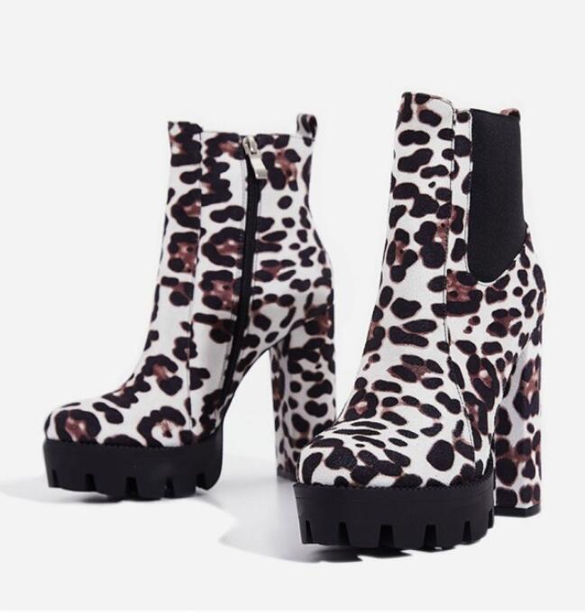colorways incredibili Sexy Sexy Sexy Donna  Leopard Faux Suede Platform Block Heels Retro Punk Lady Ankle stivali  tutti i prodotti ottengono fino al 34% di sconto