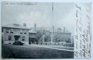 PUBLIC-SCHOOL-LANSDOWNE-PA-ANTIQUE-1906-UNDIVIDED-POSTCARD