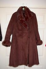 New Sz 16 Chocolate Faux Suede Long Jacket Coat Thick Fur Collar & Cuffs Gift