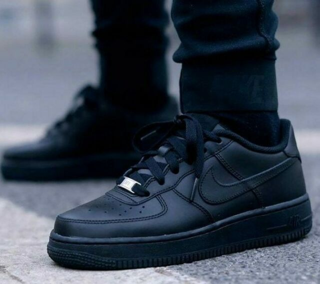 New NIKE Air Force 1 Low leather Shoes Mens triple black all sizes