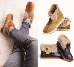 Hand-crafted-Luxury-Men-039-s-Women-039-s-Genuine-Sheepskin-Zip-Boot-Slippers-100-Fur
