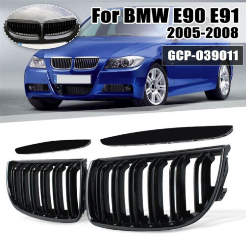 1 Pair Front Gloss Black 2 Line Double Slat Kidney Grille Grill For BMW E90 E91