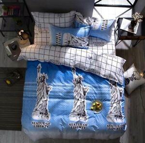 3-tlg-Bettwaesche-Bettbezug-Bettgarnitur-155x200cm-Freiheitsstatue-New-York-USA