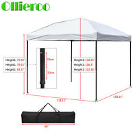 10' X 10' Pop Up Tent Outdoor Gazebo Canopy Screen Patio Sun Shade White/blue