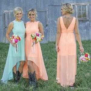 Plus Size High Low Chiffon Bridesmaid Dresses A Line Beach Wedding
