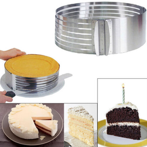 16-30cm Adjustable Round Stainless Steel Cake Ring Mold Layer Slicer Cutter  FT