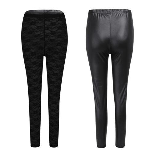 Women Ladies Wetlook Leather Zipper Open Crotch Stretchy Leggings Pants Trousers