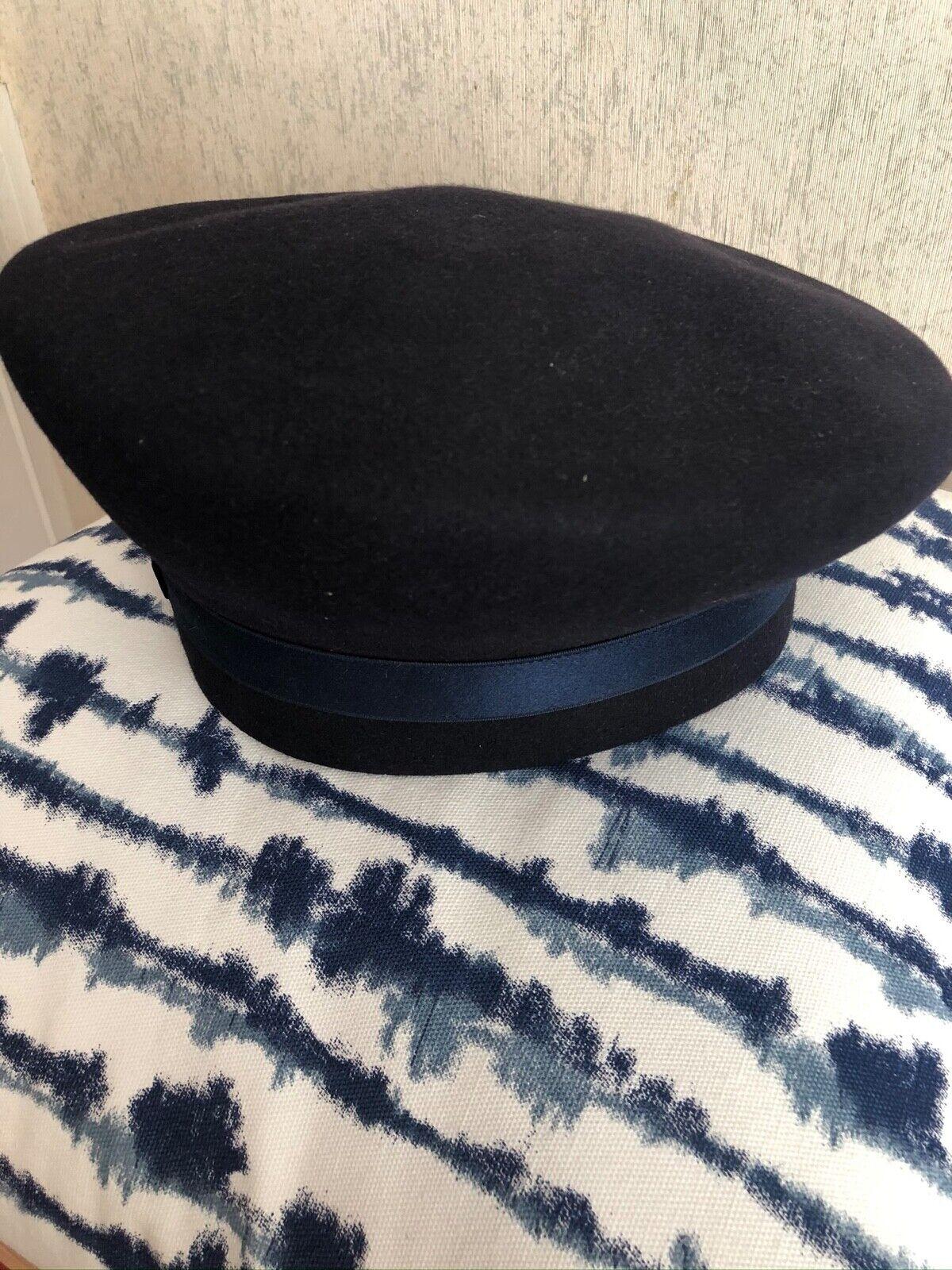 Patricia Underwood Vintage Navy Felt Asymmetrical… - image 3