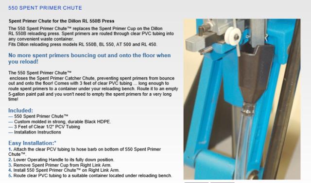 Dillon 550 - Spent Primer Chute US Patent d711490