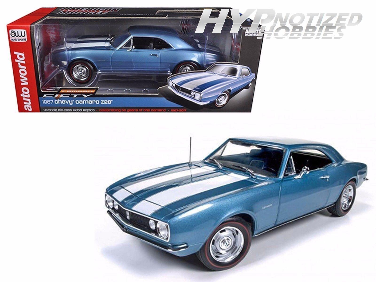 Auto le Monde 1 18 1967 Chevrolet Camaro Z28 Moulé Bleu Amm1101