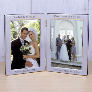 Personalised Silver Plate Wedding Double Photo Frame Parents