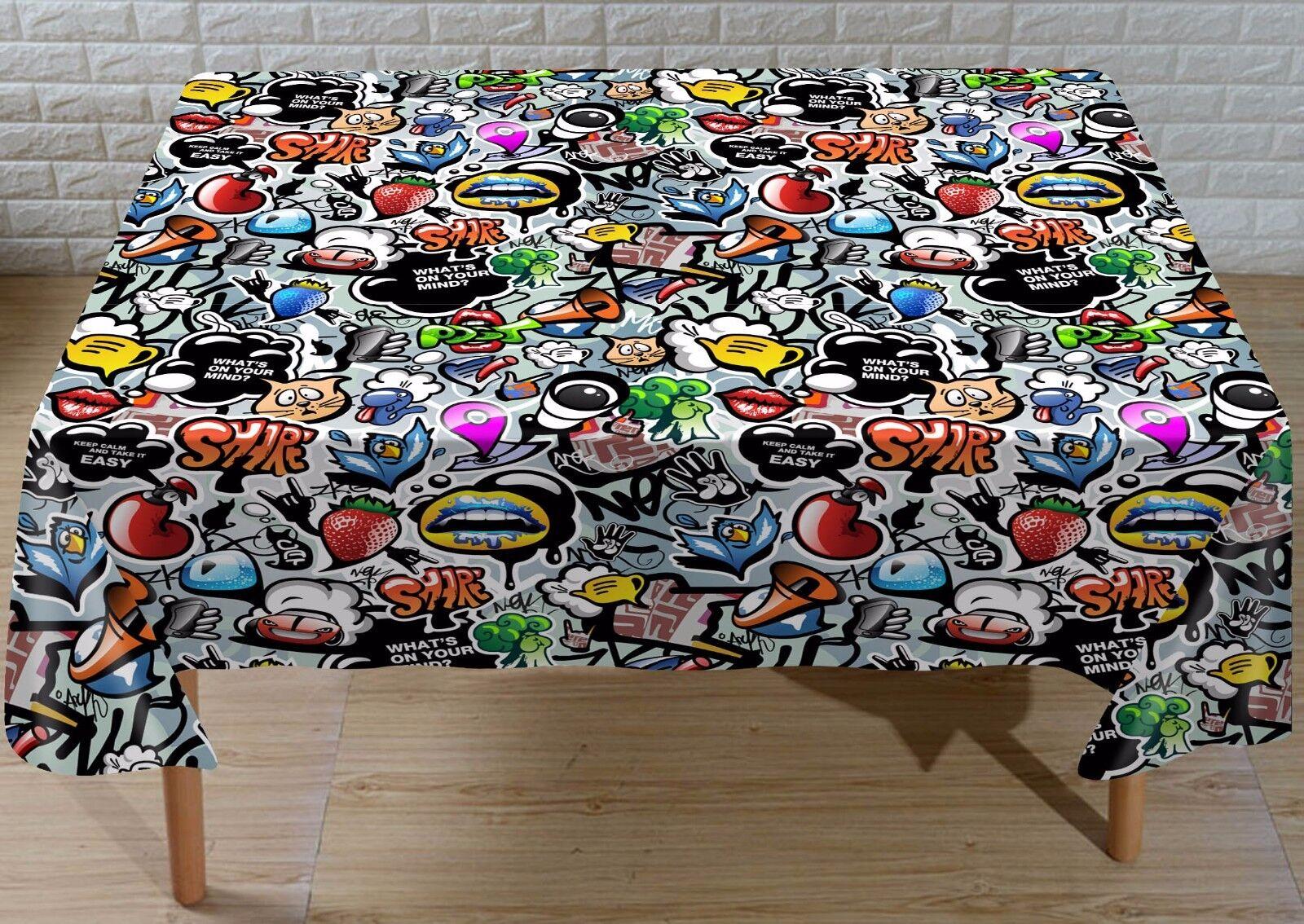 3D Graffiti 72 Nappe Table Cover Cloth Fête D'Anniversaire événement AJ papier peint UK