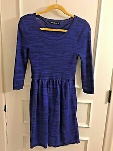 KENSIE-NAVY-AND-BLACK-DRESS-3-4-SLEEVES-GATHERED-AT-WAIST-WOMENS-SIZE-S