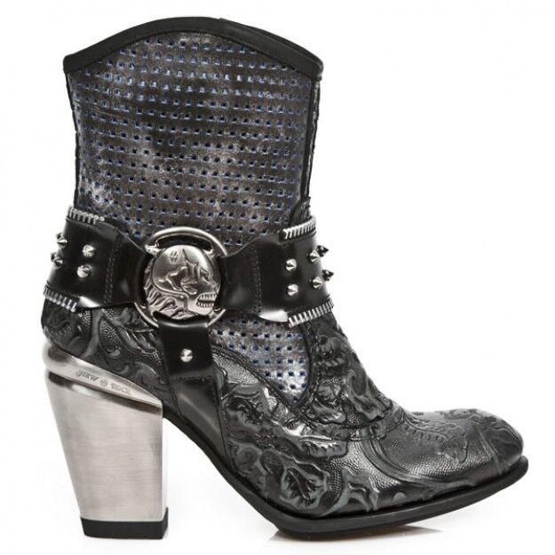 Newrock TX005 S1 Negro Corto De Tacón Botas de cuero señoras de moda Nuevo Rock Gótico