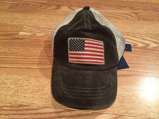 8ef4491100158 Polo Ralph Lauren Mens Trucker Hat Cap USA Flag Green Corduroy ...