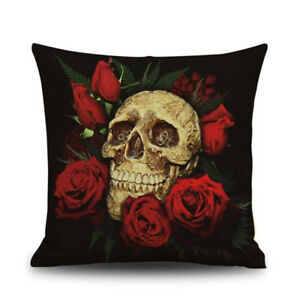 Halloween-Skull-Pattern-Square-Throw-Pillow-Case-Cushion-Cover-Sofa-Decor-Re-FP