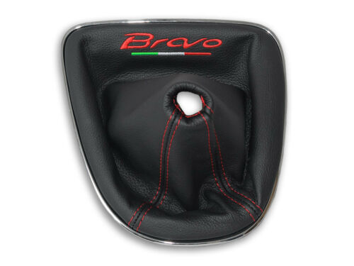 GEAR STICK GAITER FOR FIAT BRAVO 2 II BLACK LEATHER EMBROIDERY RED Italy