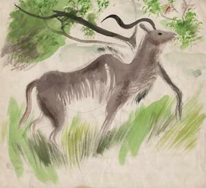 IMPRESSIONIST-ANTELOPE-Watercolour-Painting-c1960