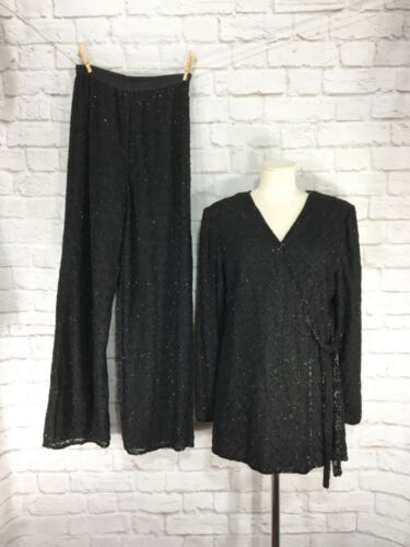 Vintage Black Beaded Embroidery Pant Wrap Blouse S