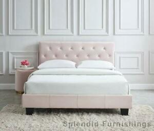 Summer Sale!! Stylish, Contemporary velvet bed in Blush Edmonton Area Preview