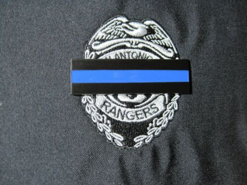 MOURNING BADGE COVER BLUE LINE METAL BAR FOR SEWN ON OR DIRECT EMBROIDERY BADGE