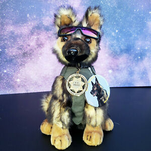 Sable German Shepherd Plush Police Dog w K9 Badge Mirrored Shades K9 fundraiser