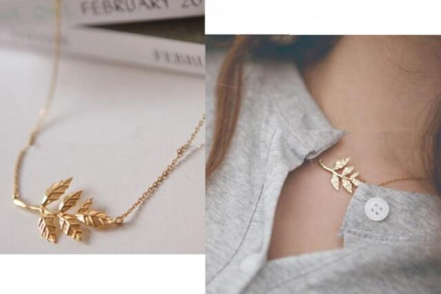 YOCA   New Celebrity Simple Elegant Leaves Pendant Charm Chain Necklace Gold