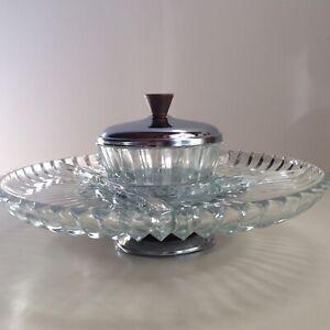 Kromex-Glass-Chrome-Lazy-Susan-Condiment-Tray-09821-Original-Box-Vintage