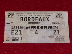 COLLECTION-SPORT-FOOTBALL-TICKET-PSG-BORDEAUX-7-FEVRIER-2002-Champ-France