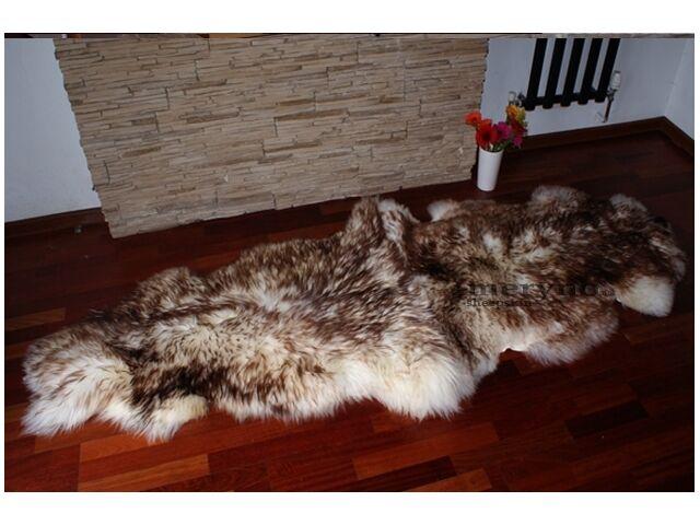 Blanc Marron Double Tapis Peau de de de mouton naturel doux en laine | Digne  231a5a