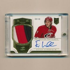 2013-14-Panini-Dominion-Elias-Lindholm-RC-patch-auto-SP-3clrs-38-50-NO-PP-ELI