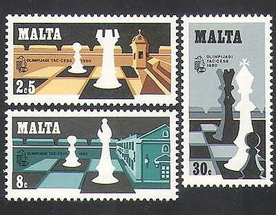Malta 1980 Chess Olympiad/Sports/Games/Chessmen/Pieces 3v set (n35907)