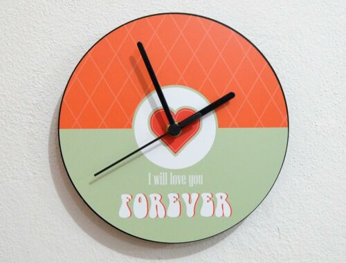 Wall Clock Valentines Day I will love you forever