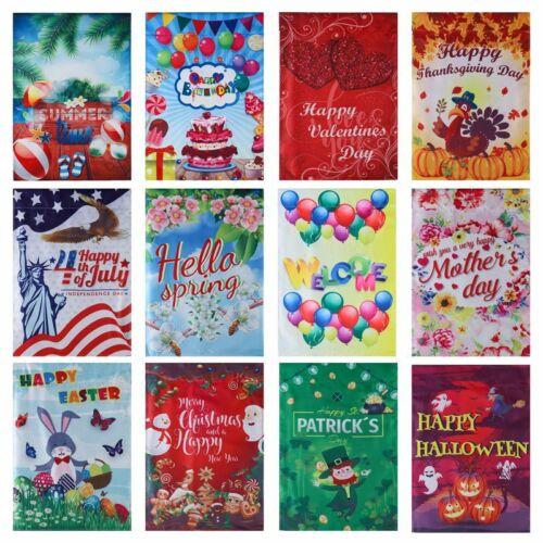 Seasonal Garden Flag 45*30cm All Seasons Holidays Bright Yard Flags Hot^/&*#ws