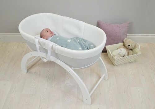 Shnuggle Dreami Baby Sleeper Moses Basket /& Stand Pebble Grey