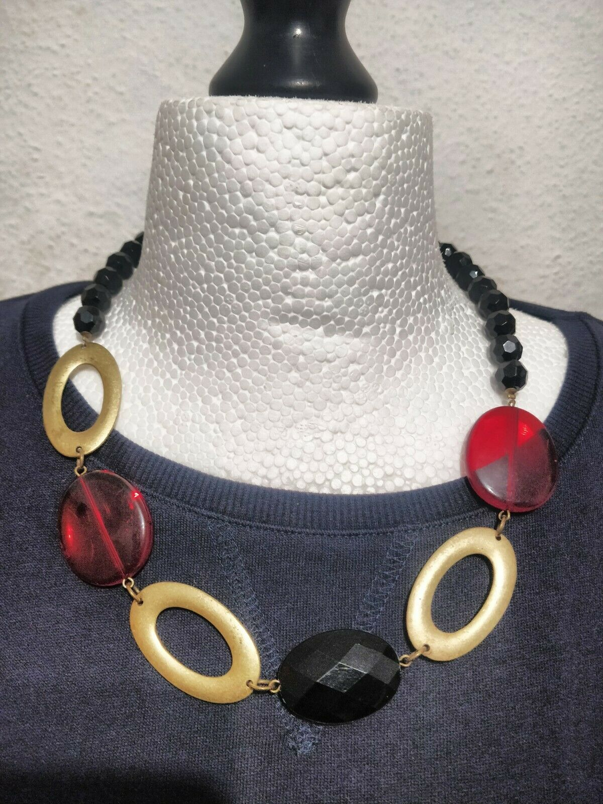 House Of Fraser Buckley Untold Black Beaded Gold Red Long Necklace