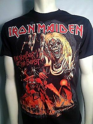 2XL Black T-Shirt XL Iron Maiden Crossed Flags M L